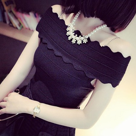 韓國性感打底衫百搭一字領露肩修身針織背心上衣女繃帶波浪邊