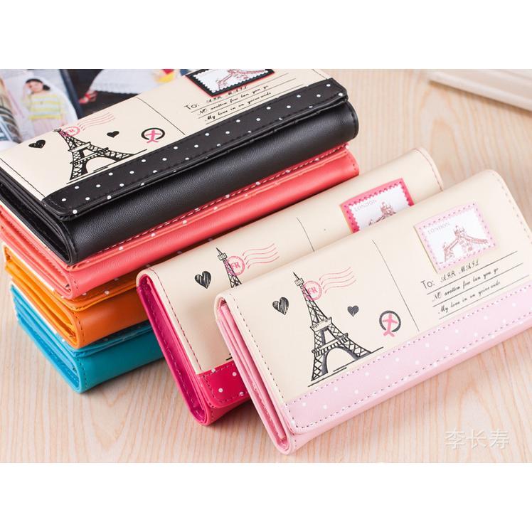 1 ~柑仔店~ 巴黎鐵塔郵票皮夾2 折皮夾非3 折手拿包收納包化妝包筆袋生日  聖誕 零錢