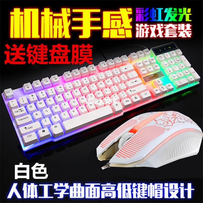 ~5428 ~送鍵盤膜鍵鼠套裝雷迪凱832 遊戲USB 鍵盤滑鼠發光遊戲套件七彩背光