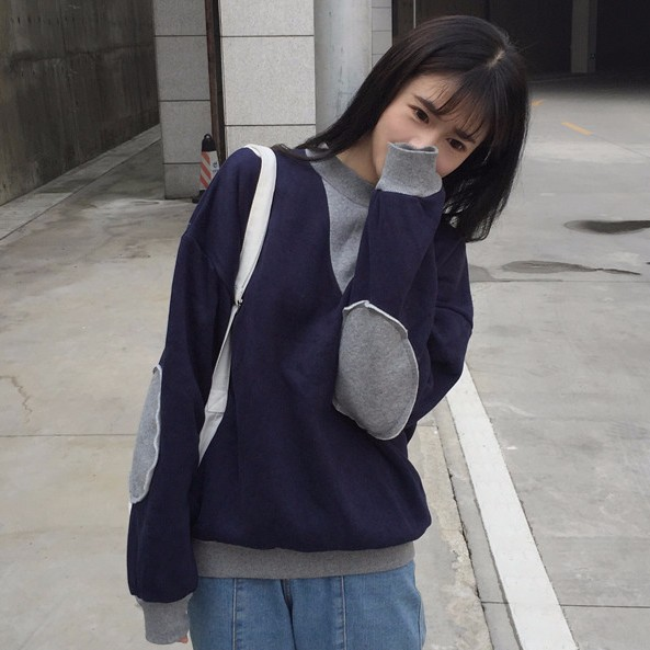 MOMO 長袖大學T 2017 拼色布貼長袖上衣  潮流百搭修身顯瘦學生女生衣著 實拍 爆