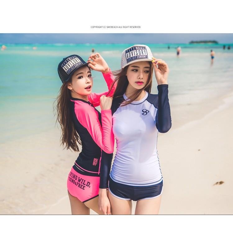 2 色防曬UPF50 長袖分體平角褲兩件套泳衣潛水衣衝浪衣防寒衣泳裝瑜珈海灘防曬衣水母衣