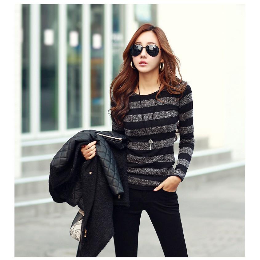長袖圓領條紋女式針織衫女士T 卹 女秋裝 打底上衣 黑色