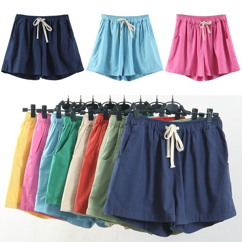 (藏藍玫紅天藍)棉麻短褲女夏天闊腿褲寬鬆顯瘦學生高腰 亞麻五分 休閒褲子