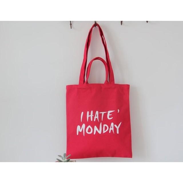 帆布包帆布袋原創小清新文藝環保袋 袋單肩包I Hate Monday 手提包zbg4927