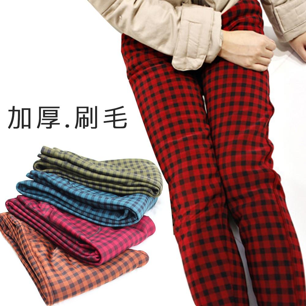 英倫風 女款加絨加厚保暖九分格子褲彈性顯瘦款窄管褲