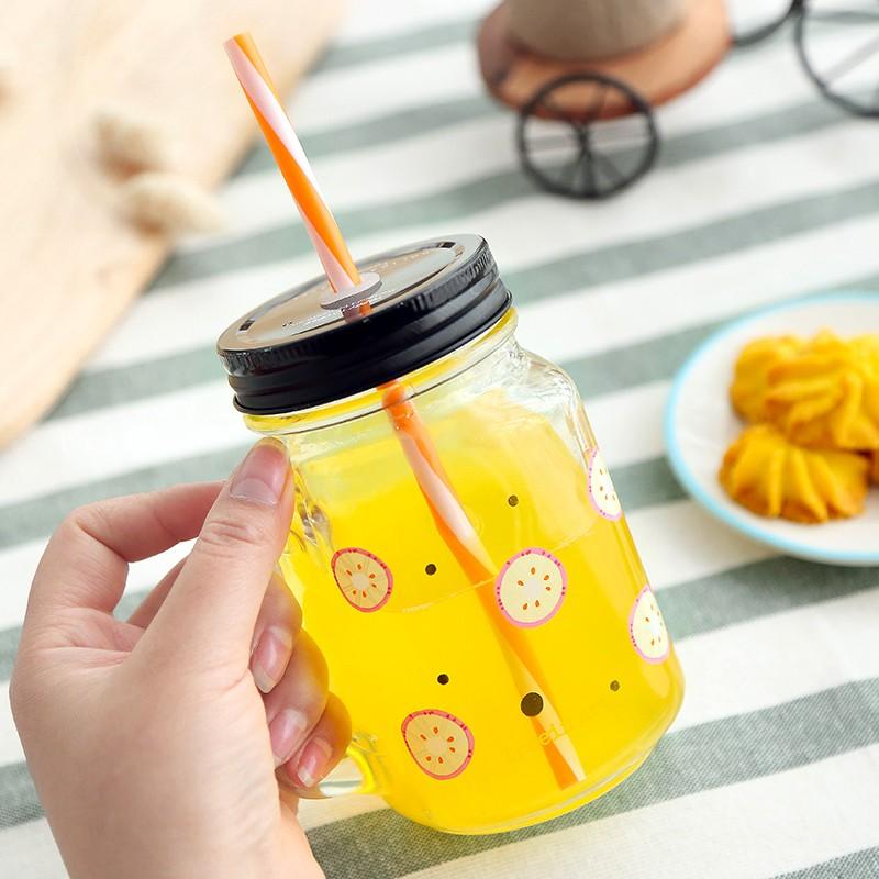 抵+夏日水果塗鴉風玻璃梅森瓶隨手杯西瓜/火龍果/檸檬/哈密瓜夏天清涼消暑