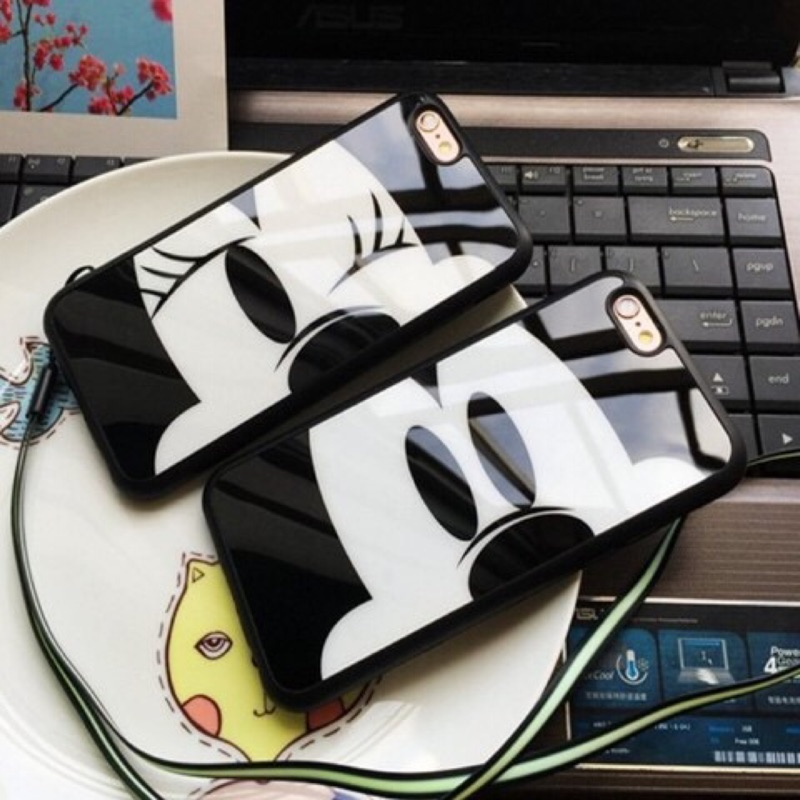米奇米妮iPhone6 6s 6Plus 6sPlus 卡通手機殼掛繩镜面手機套保護殼手機