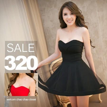SISI ~D6073 ~性感平口網紗拼接修身縮腰傘襬短裙連身裙禮服露背蓬蓬裙洋裝附胸墊