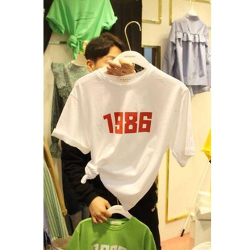 下殺韓國東大門純色簡約數字印花大碼短袖T 恤女夏裝 百搭純棉素面T 恤大 打底衫