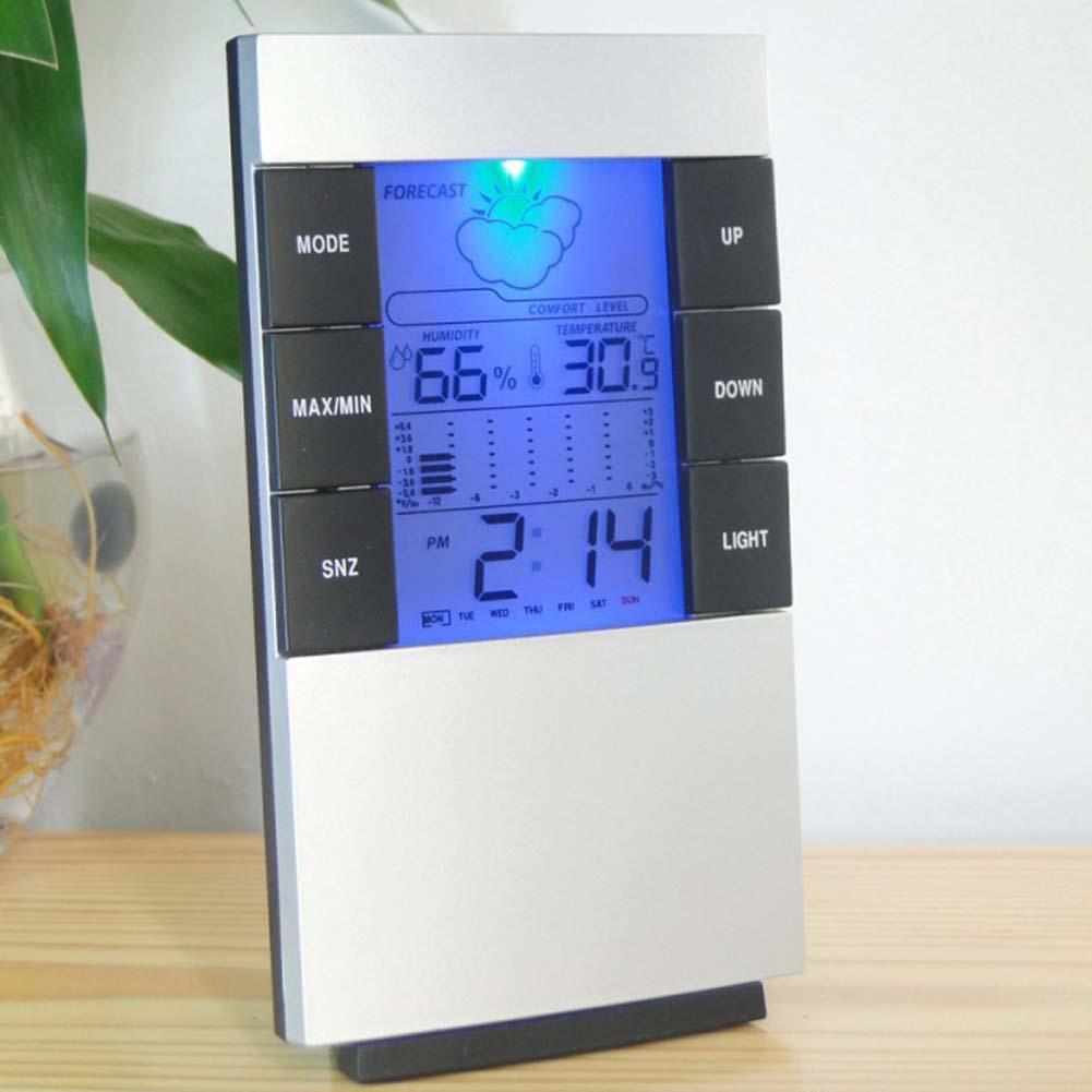 多 室內數字濕度計溫度計溫度濕度測量溫度液晶螢幕顯示可顯示時間可報警小巧精緻