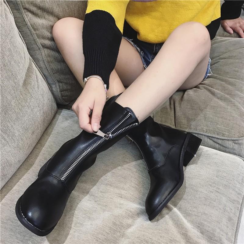 ~~~2016 短靴女前拉鏈中筒靴粗跟單靴女復古圓頭中跟低跟馬丁靴潮