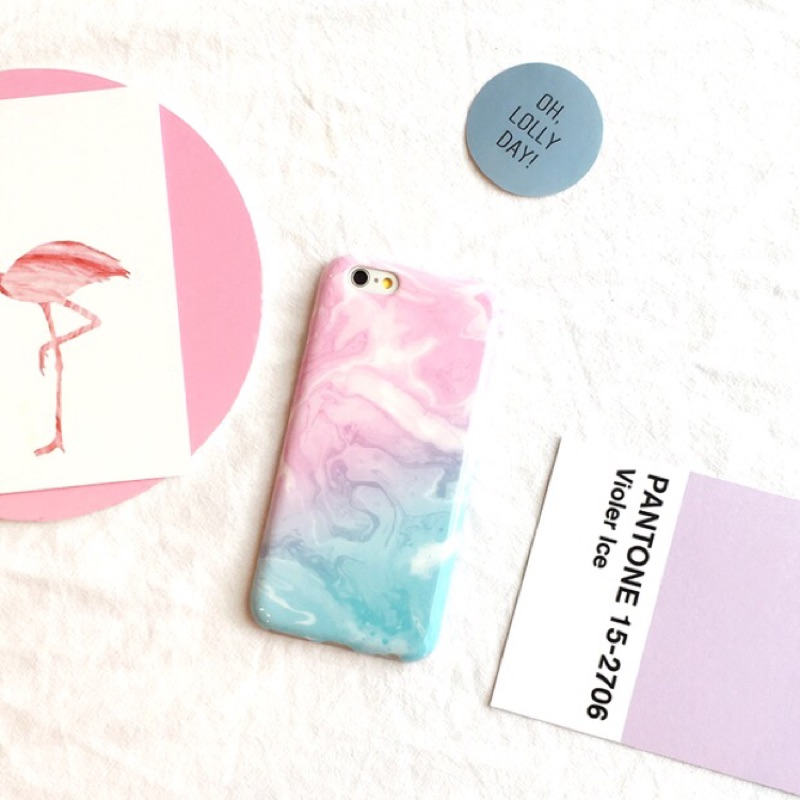 迷幻粉藍軟殼iPhone 6 6S PLUS 6 全包覆保護殼手機殼淺粉