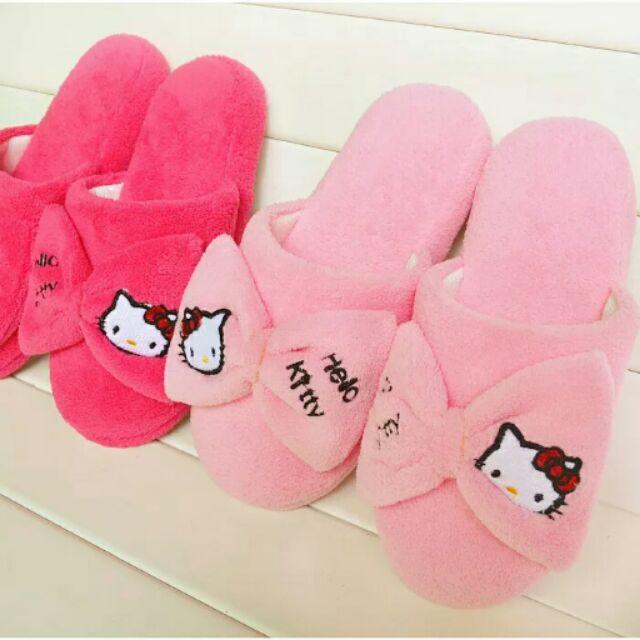 kitty 刺繡毛絨蝴蝶結居家拖鞋