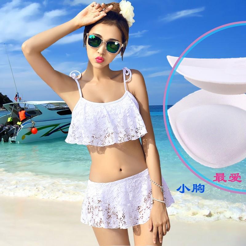 ❤ 實拍❤ 韓國泳裝性感蕾絲純白色分體比基尼裙式bikini 泳衣女