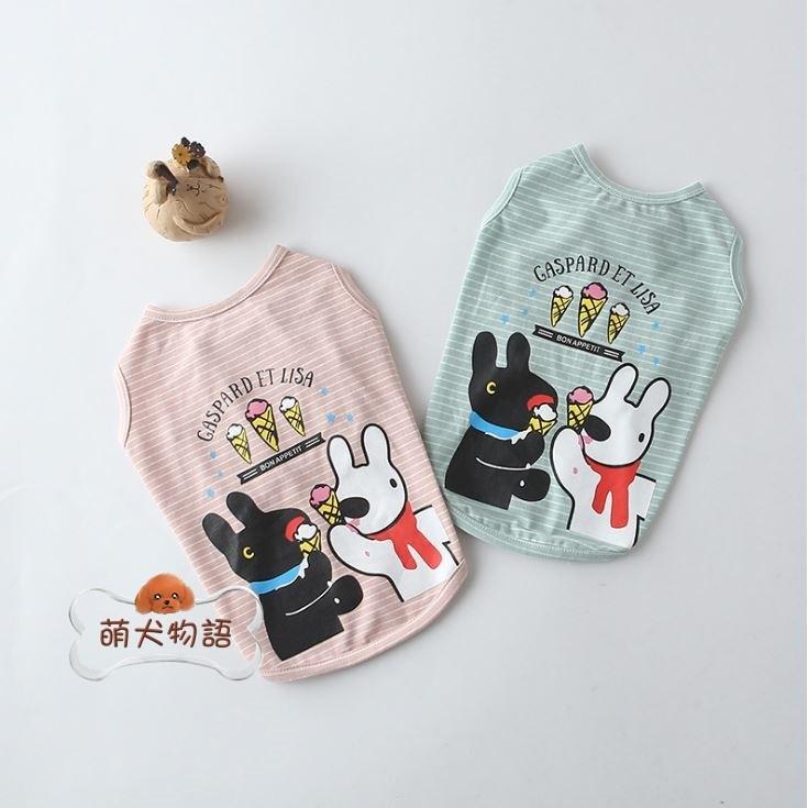 ~萌犬物語~ 寵物服飾貓狗衣服大中小型犬貓卡斯柏麗莎冰淇淋條紋T 恤法鬥柴犬柯基臘腸雪納瑞