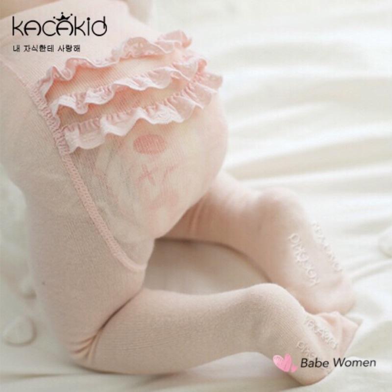 韓國Kacakid 蕾絲花邊PP 褲襪S 號女童女寶寶襪0 2 歲止滑防滑襪100 純棉嬰