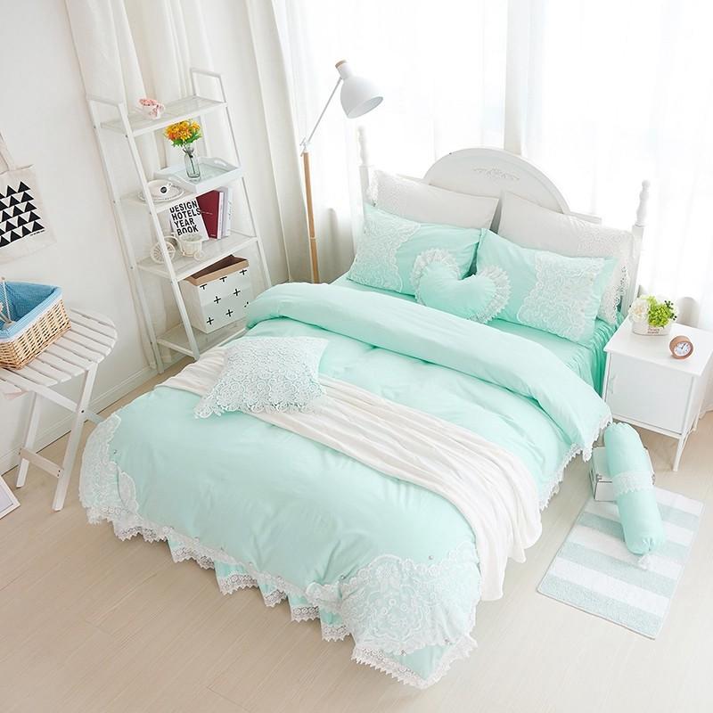 雙人床罩公主風床罩初戀感覺薄荷綠蕾絲床罩結婚床罩床裙組荷葉邊床罩佛你企業