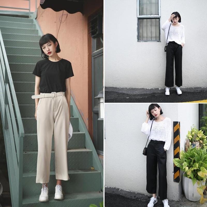 韓國 闊腿褲九分高腰褲大碼寬松女褲黑色直筒褲 褲西裝褲子