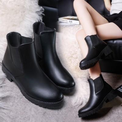 秋 2016 英倫皮鞋復古短靴粗跟馬丁靴短筒女靴中跟靴子女鞋