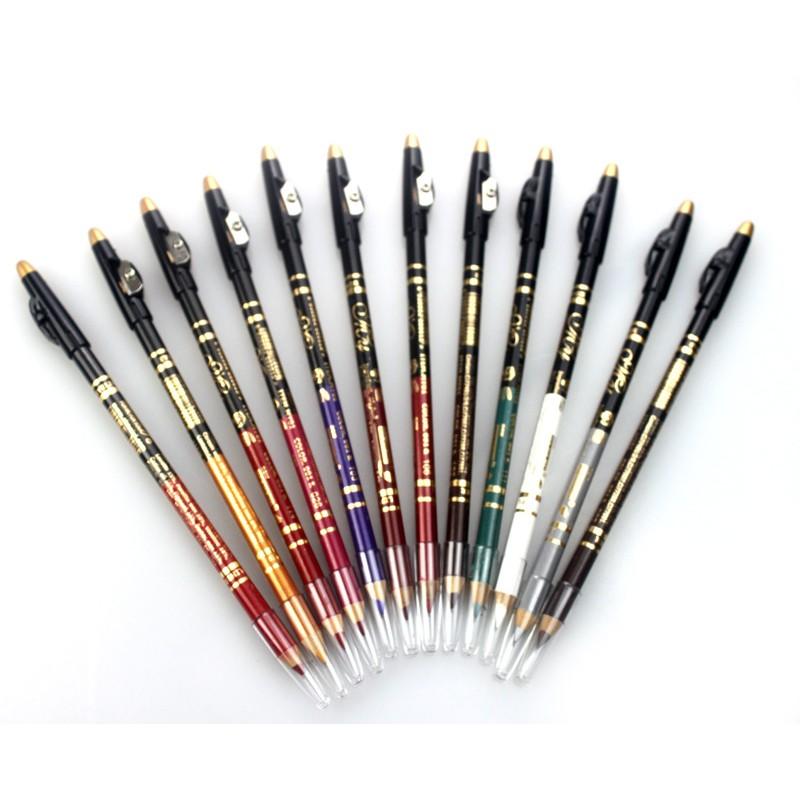 12 色雙用唇筆眼線筆自然不暈染多彩雙用整套色彩配卷筆刀
