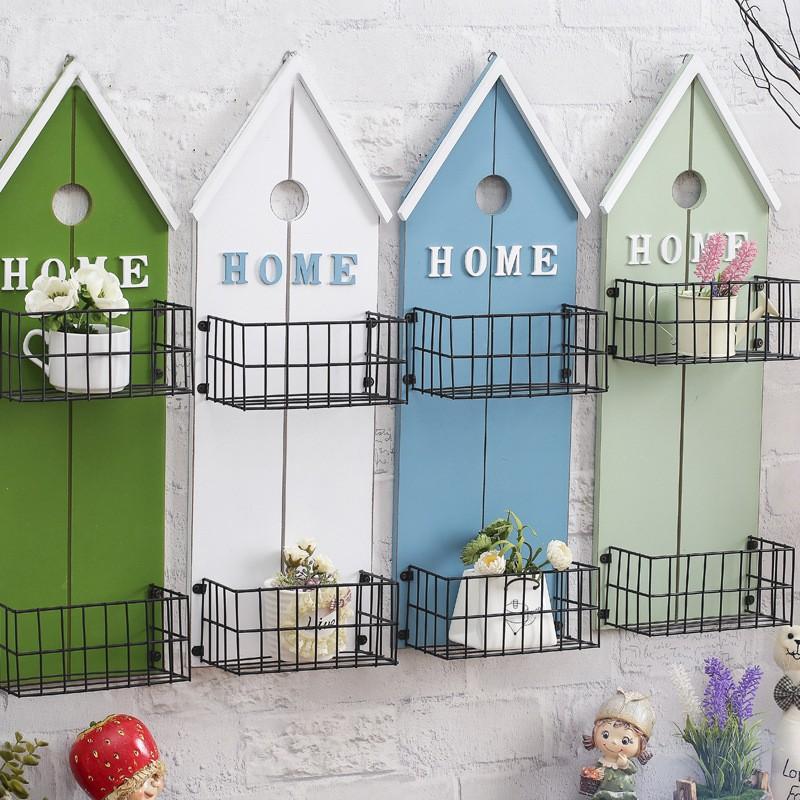 哇寶箱美式鄉村掛式花架兩層收納空間鐵架實木 多 置物架