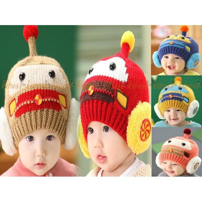 機器人 針織帽寶寶遮耳帽kiwi 小舖~MM121 ~