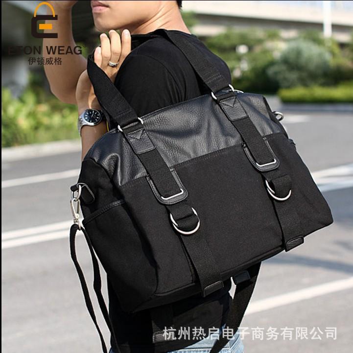 帆布包男包包 斜跨包單肩包旅行包潮包手提包男款休閒包大包