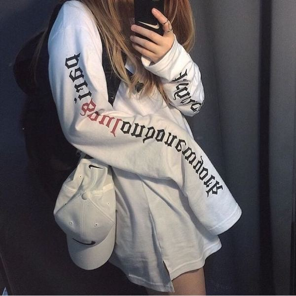 衛衣女 潮學生寬松套頭情侶外套超長袖T 恤大碼