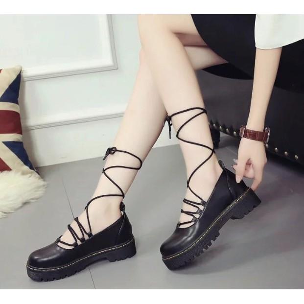 平底綁帶淺口芭蕾鞋英倫學院復古風圓頭厚底休閒小皮鞋