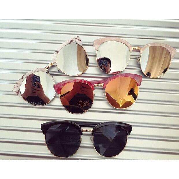 Pita s 韓風復古半框金屬邊大理石紋雷射水銀反光鏡片大洋眼鏡墨鏡街拍款皮革感眼鏡盒 款