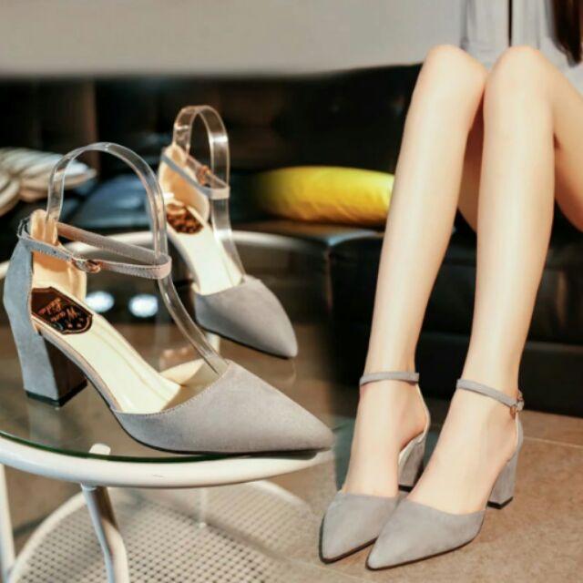 百搭款氣質性感 繫帶尖頭鞋粗跟鞋高跟鞋