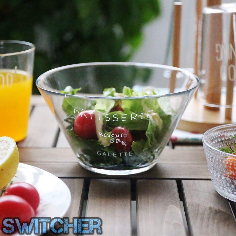 zakka 法文字母玻璃碗沙拉碗簡約小清新加厚點心碗水果碗麵碗湯碗料理碗調味碗婚禮佈置野餐