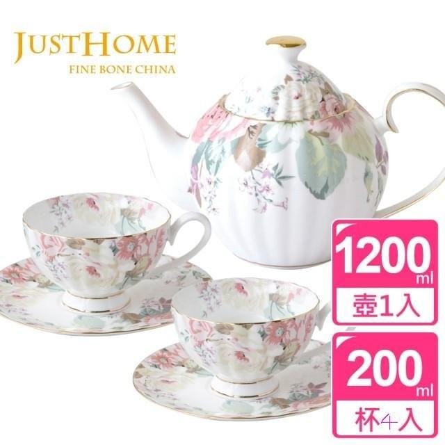 ~Just Home ~花漾薔薇新骨瓷14 件午茶組壺1 個壺蓋1 個咖啡杯4 入咖啡盤4