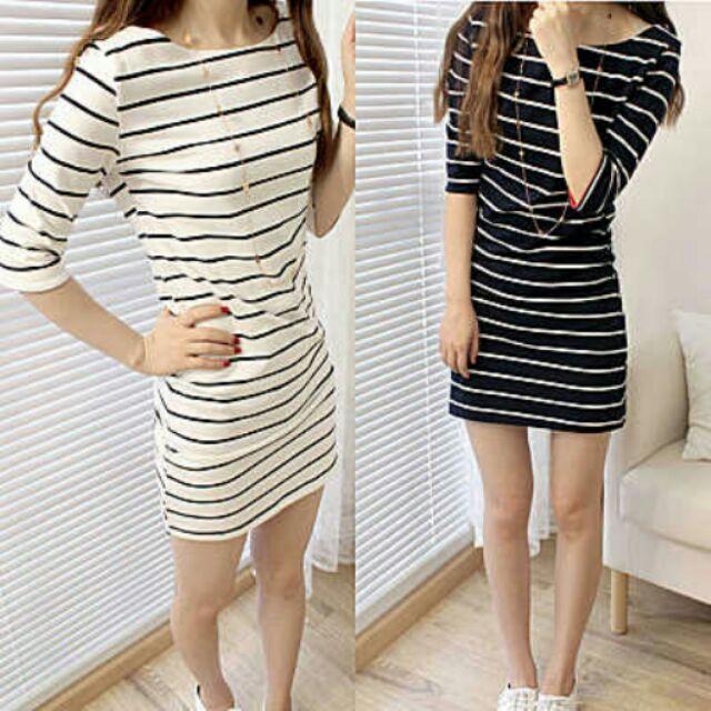 1 寬鬆顯瘦圓領條紋連身裙修身長版T