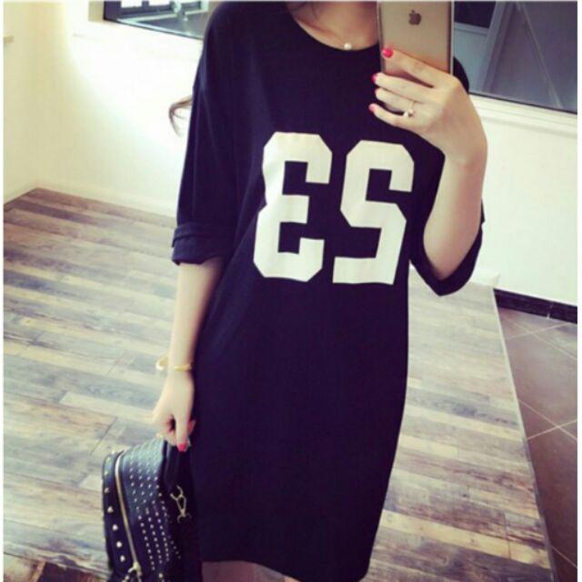 連身裙數字23 休閒短袖T 恤長版