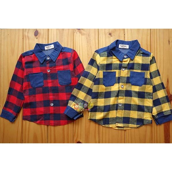 1649 格紋格子襯衫拼接牛仔前口袋薄外套紅色5 15 黃色13 號中小童