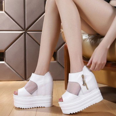 日韓之都秀鞋坊涼鞋女夏松糕魚嘴鞋坡跟超高跟鏤空內增高厚底網紗