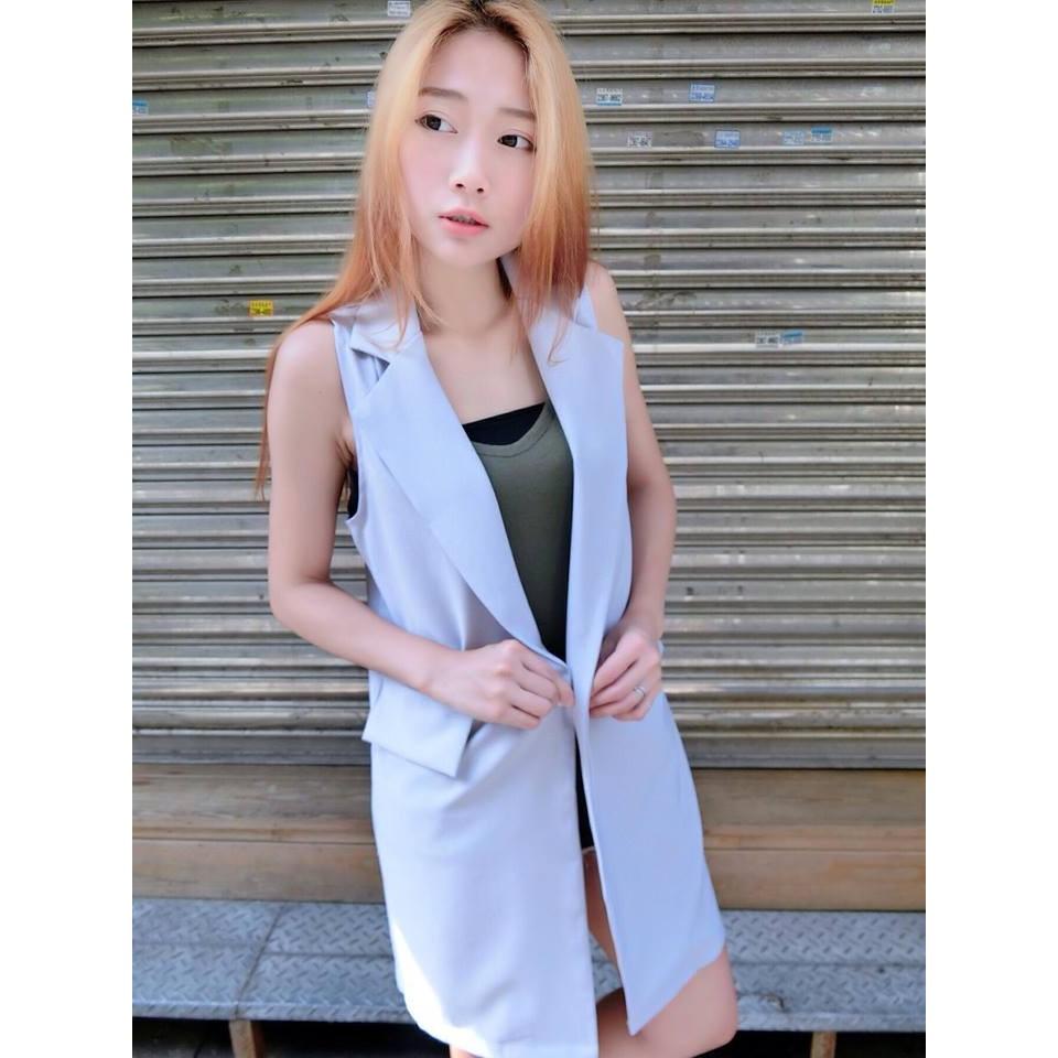 單扣橫口袋長版西裝背心修長直筒外套無袖寬鬆顯瘦氣質小資女