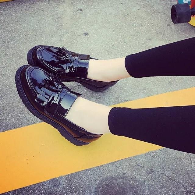 小光頭商店 粗跟女鞋 學院風厚底小皮鞋牛津鞋女復古漆皮流蘇單鞋