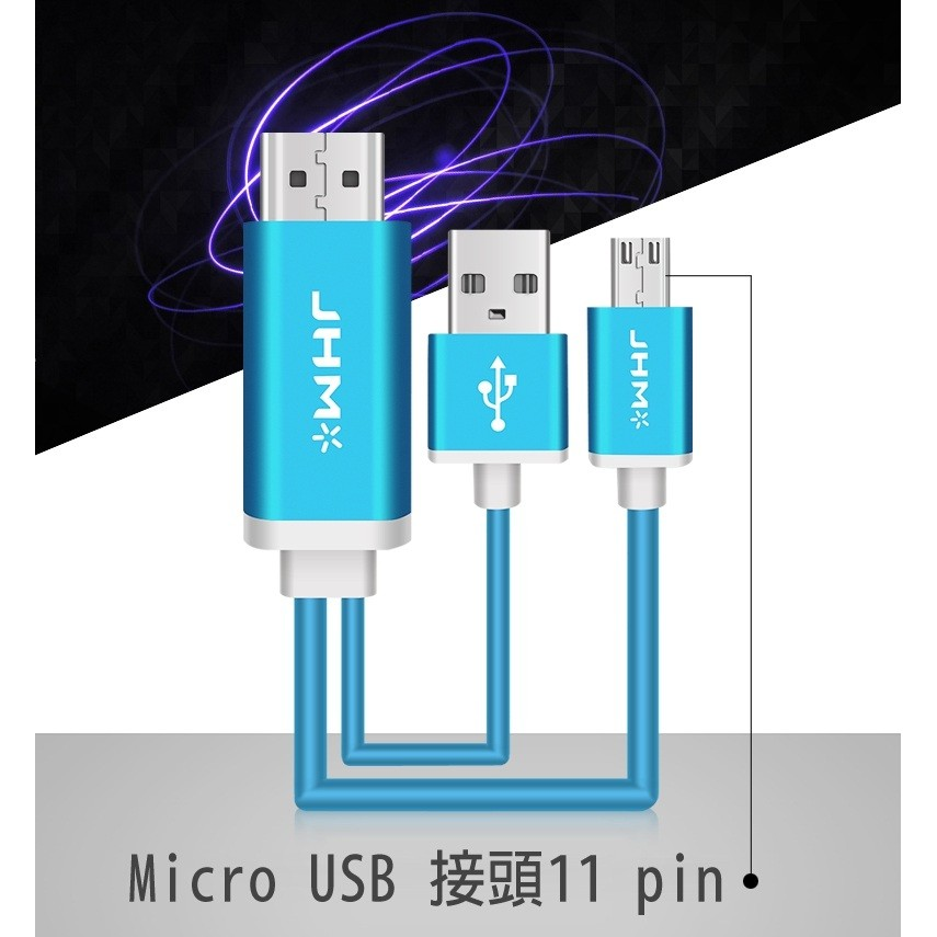 MHL 轉HDMI Micro 11Pin USB MHL 轉HDMI 2 米高清影音視頻