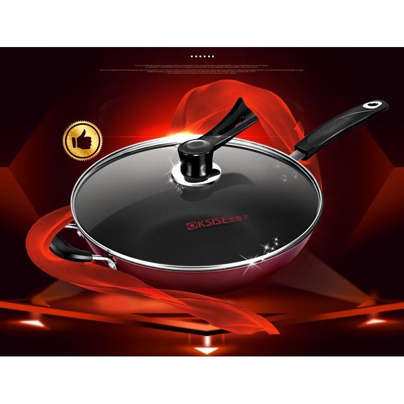 廠商直銷32CM 平底炒菜鍋炒鍋不沾鍋平底鍋附可立鍋蓋多 電磁爐瓦斯爐