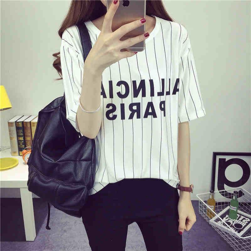 春夏女裝2017 黑白條紋百搭半袖上衣服韓國學生寬松短袖t 恤潮