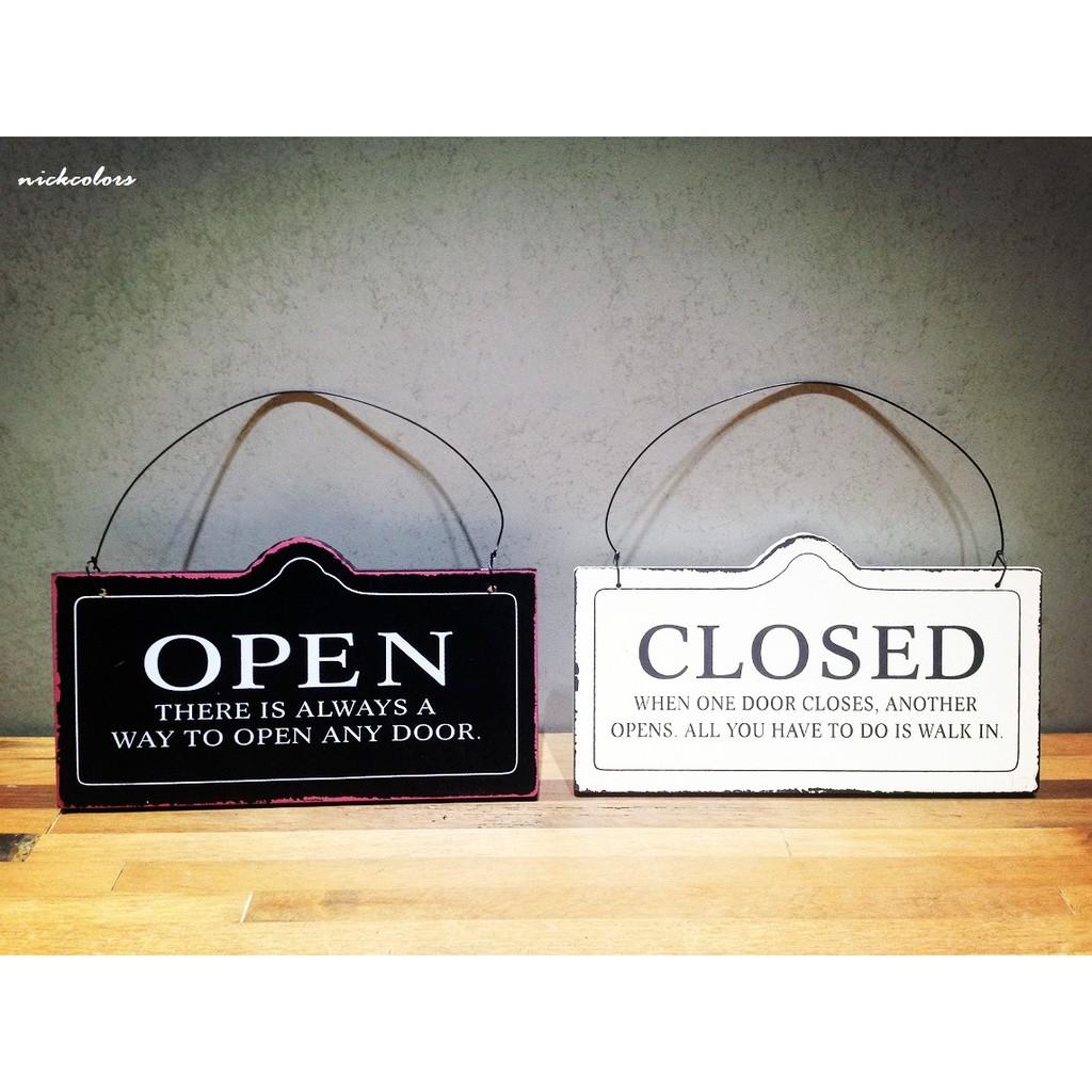 OPEN CLOSED 仿舊黑白雙面木門牌餐廳咖啡廳服飾店招牌開門關店 復古工業風鄉村尼克