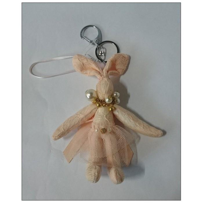 ~雍容華貴~韓風珍珠項鍊蝴蝶結粉橘色緞帶蕾絲兔吊飾掛飾鑰匙圈