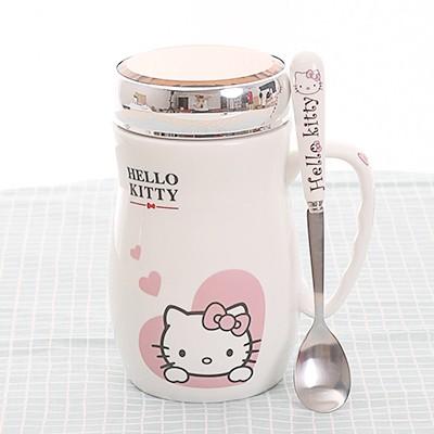 kitty 馬克杯陶瓷杯附蓋及勺子大容量辦公室水杯牛奶咖啡杯