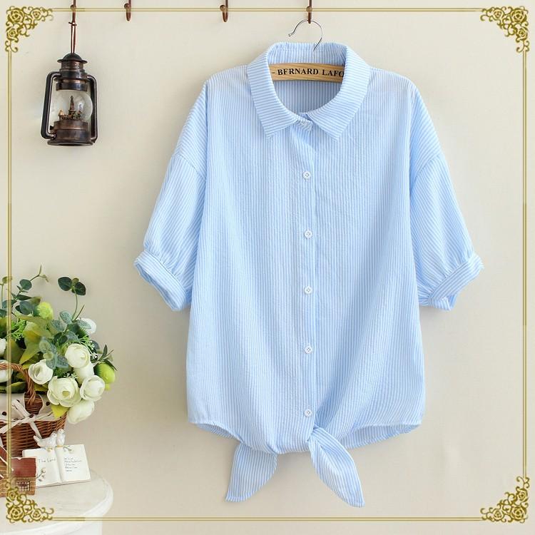 ~161047 ~日系小清新條紋打結短袖襯衫(2 色)
