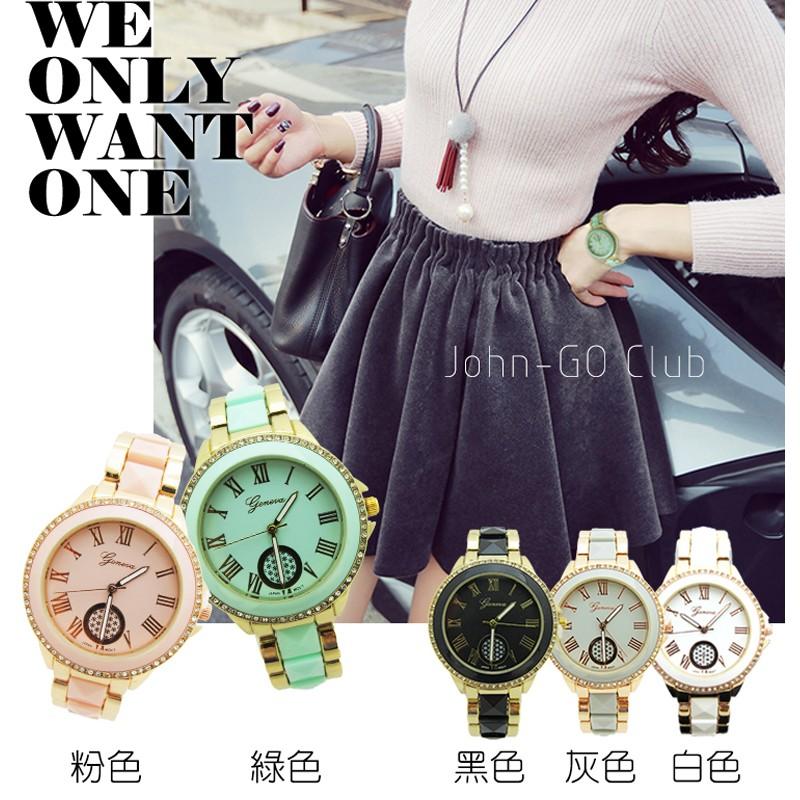2 支贈盒 閃亮女錶對錶環繞鑲鑽錶盤立體錶帶羅馬數字~匠子工坊~~UQ0021 ~