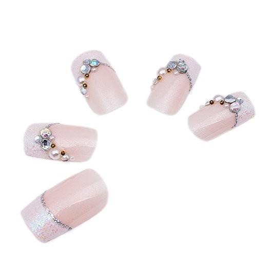 〔MIRADA 美甲〕粉底白薔薇法式很美的水鉆美甲假指甲新娘成品甲片產品可愛貼