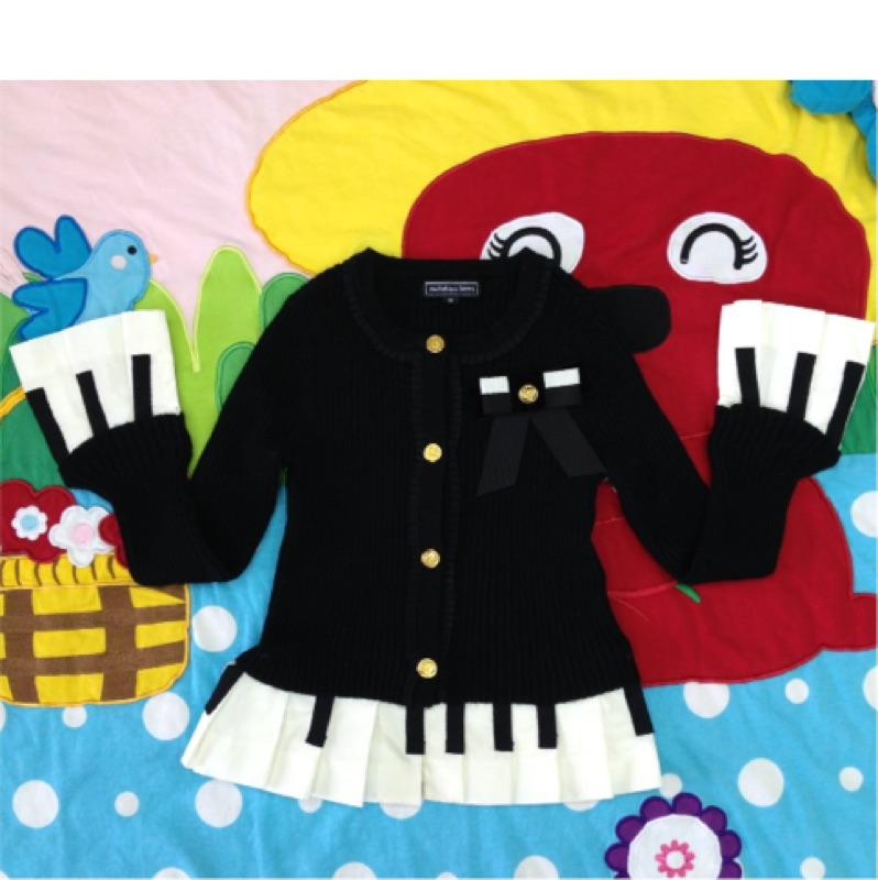 Nicholas Bears 羊毛黑色鋼琴 針織外套可拆袖子及下擺4Y