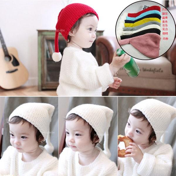 277 小舖秋 兒童針織帽子寶寶毛線辮子套頭帽小孩球球護耳帽保暖帽